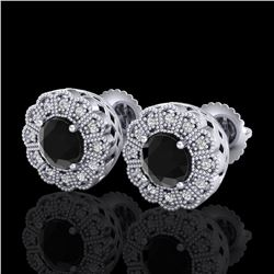 1.32 ctw Fancy Black Diamond Art Deco Stud Earrings 18k White Gold - REF-107M3G