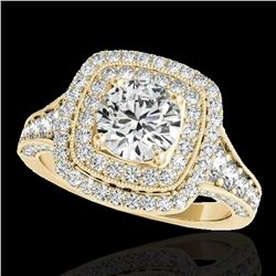 2 ctw Certified Diamond Solitaire Halo Ring 10k Yellow Gold - REF-231Y8X