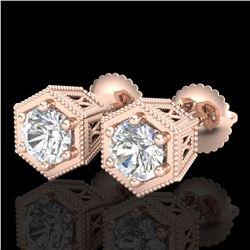 1.15 ctw VS/SI Diamond Solitaire Art Deco Stud Earrings 18k Rose Gold - REF-214H5R