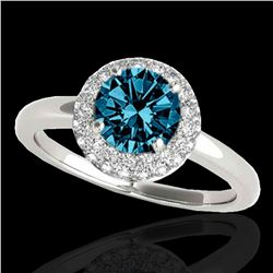 1.43 ctw SI Certified Fancy Blue Diamond Halo Ring 10k White Gold - REF-126A8N