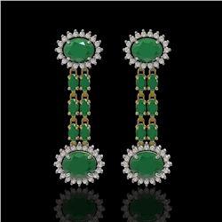 10.23 ctw Emerald & Diamond Earrings 14K Yellow Gold - REF-227X3A