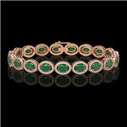 15.2 ctw Emerald & Diamond Micro Pave Halo Bracelet 10k Rose Gold - REF-300F2M