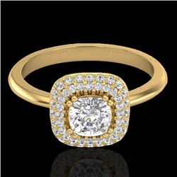1.16 ctw Micro SI Cushion Diamond Engagment Ring Halo 18k Yellow Gold - REF-149G5W