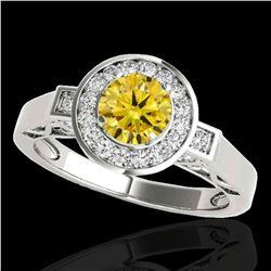1.75 ctw Certified SI/I Fancy Intense Yellow Diamond Ring 10k White Gold - REF-259Y3X