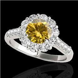 2.75 ctw Certified SI/I Fancy Intense Yellow Diamond Ring 10k White Gold - REF-353W2H