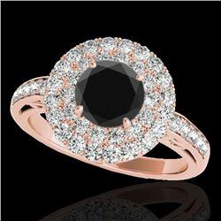 2.25 ctw Certified VS Black Diamond Solitaire Halo Ring 10k Rose Gold - REF-93K5Y