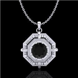 0.75 ctw Fancy Black Diamond Art Deco Stud Necklace 18k White Gold - REF-80M2G