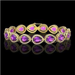 20.3 ctw Amethyst & Diamond Micro Pave Halo Bracelet 10k Yellow Gold - REF-282G9W