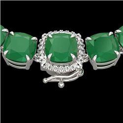 116 ctw Emerald & VS/SI Diamond Micro Pave Necklace 14k White Gold - REF-981R8K