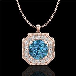 1.54 ctw Fancy Intense Blue Diamond Art Deco Necklace 18k Rose Gold - REF-216Y4X