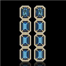 18.99 ctw London Topaz & Diamond Micro Pave Halo Earrings 10k Yellow Gold - REF-184X4A