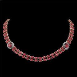 38.37 ctw Tourmaline & Diamond Necklace 14K Rose Gold - REF-527F3M