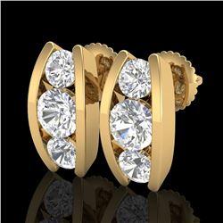 2.18 ctw VS/SI Diamond Solitaire Art Deco Stud Earrings 18k Yellow Gold - REF-300F2M