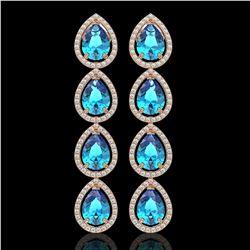 10.8 ctw Swiss Topaz & Diamond Micro Pave Halo Earrings 10k Rose Gold - REF-172H8R