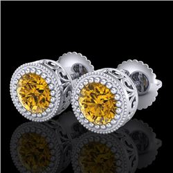 1.09 ctw Intense Fancy Yellow Diamond Art Deco Earrings 18k White Gold - REF-163M6G