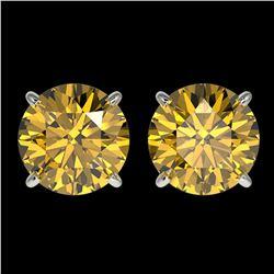 3 ctw Certified Intense Yellow Diamond Stud Earrings 10k White Gold - REF-527N8F