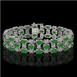 25.85 ctw Jade & Diamond Bracelet 10K White Gold - REF-227Y3X