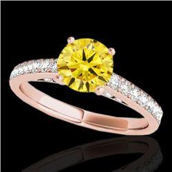1.5 ctw Certified SI/I Fancy Intense Yellow Diamond Ring 10k Rose Gold - REF-184R3K