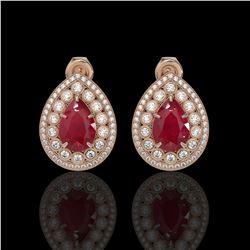 9.74 ctw Certified Ruby & Diamond Victorian Earrings 14K Rose Gold - REF-254N4F