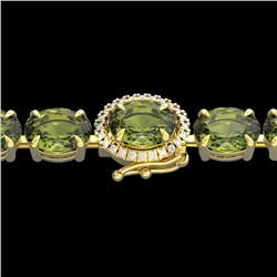 17.25 ctw Green Tourmaline & VS/SI Diamond Micro Bracelet 14k Yellow Gold - REF-172R8K