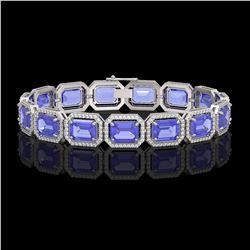 36.37 ctw Tanzanite & Diamond Micro Pave Halo Bracelet 10k White Gold - REF-776M4G
