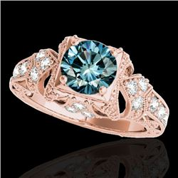 1.25 ctw SI Certified Blue Diamond Solitaire Antique Ring 10k Rose Gold - REF-129M5G