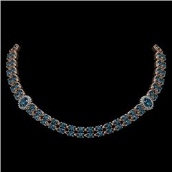 39.28 ctw London Topaz & Diamond Necklace 14K Rose Gold - REF-454K5Y