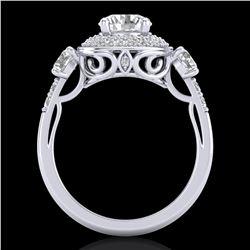 2.05 ctw VS/SI Diamond Solitaire Art Deco 3 Stone Ring 18k White Gold - REF-490F9M
