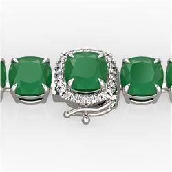 46 ctw Emerald & Micro VS/SI Diamond Bracelet 14k White Gold - REF-345M5G
