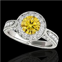 2 ctw Certified SI/I Fancy Intense Yellow Diamond Halo Ring 10k White Gold - REF-225N2F