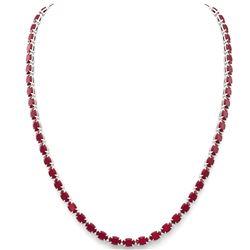 40 ctw Ruby Eternity Tennis Necklace 14k White Gold - REF-218M2G