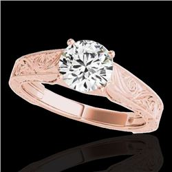 1 ctw Certified Diamond Solitaire Ring 10k Rose Gold - REF-177X3A