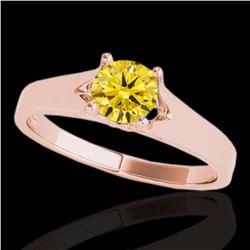 1 ctw Certified SI/I Fancy Intense Yellow Diamond Ring 10k Rose Gold - REF-184X3A