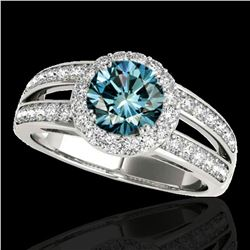 1.6 ctw SI Certified Fancy Blue Diamond Solitaire Halo Ring 10k White Gold - REF-135R2K