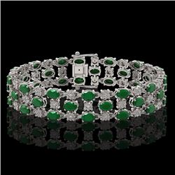 17.74 ctw Emerald & Diamond Row Bracelet 10K White Gold - REF-245W5H