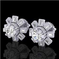 1.77 ctw VS/SI Diamond Solitaire Art Deco Stud Earrings 18k White Gold - REF-263R6K