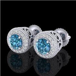 1.55 ctw Fancy Intense Blue Diamond Art Deco Earrings 18k White Gold - REF-169N3F