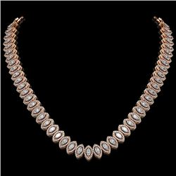 26.11 ctw Marquise Cut Diamond Micro Pave Necklace 18K Rose Gold - REF-2240Y2X