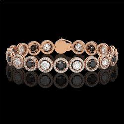 13.96 ctw Black & Diamond Micro Pave Bracelet 18K Rose Gold - REF-1071N3F