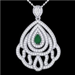 2 ctw Emerald & Micro Pave VS/SI Diamond Necklace 18k White Gold - REF-180F2M