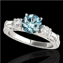 2.5 ctw SI Certified Fancy Blue Diamond Pave Solitaire Ring 10k White Gold - REF-245H5R