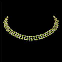 37.97 ctw Peridot & Diamond Necklace 10K Yellow Gold - REF-427G3W