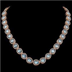 41.6 ctw Aquamarine & Diamond Micro Pave Halo Necklace 10k Rose Gold - REF-896F4M