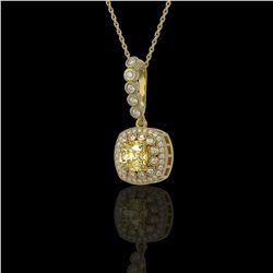 1.95 ctw Canary Citrine & Diamond Victorian Necklace 14K Yellow Gold - REF-69F6M