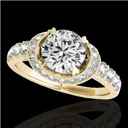 1.75 ctw Certified Diamond Solitaire Halo Ring 10k Yellow Gold - REF-204F5M
