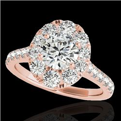 2 ctw Certified Diamond Solitaire Halo Ring 10k Rose Gold - REF-229M3G