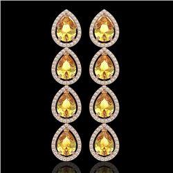 9.2 ctw Fancy Citrine & Diamond Micro Pave Halo Earrings 10k Rose Gold - REF-172G8W