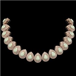 100.62 ctw Certified Opal & Diamond Victorian Necklace 14K Rose Gold - REF-3303X3A