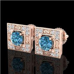 1.63 ctw Fancy Intense Blue Diamond Art Deco Earrings 18k Rose Gold - REF-176H4R
