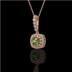 2.25 ctw Tourmaline & Diamond Victorian Necklace 14K Rose Gold - REF-81N3F